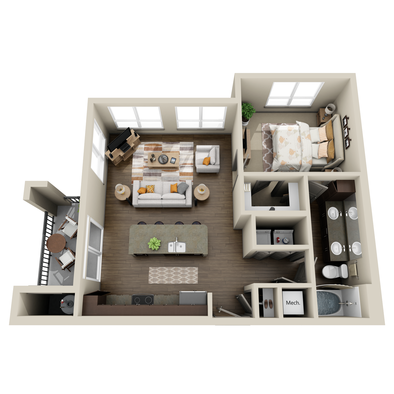 A4 floor plans featuring 1 bed and 1 bath