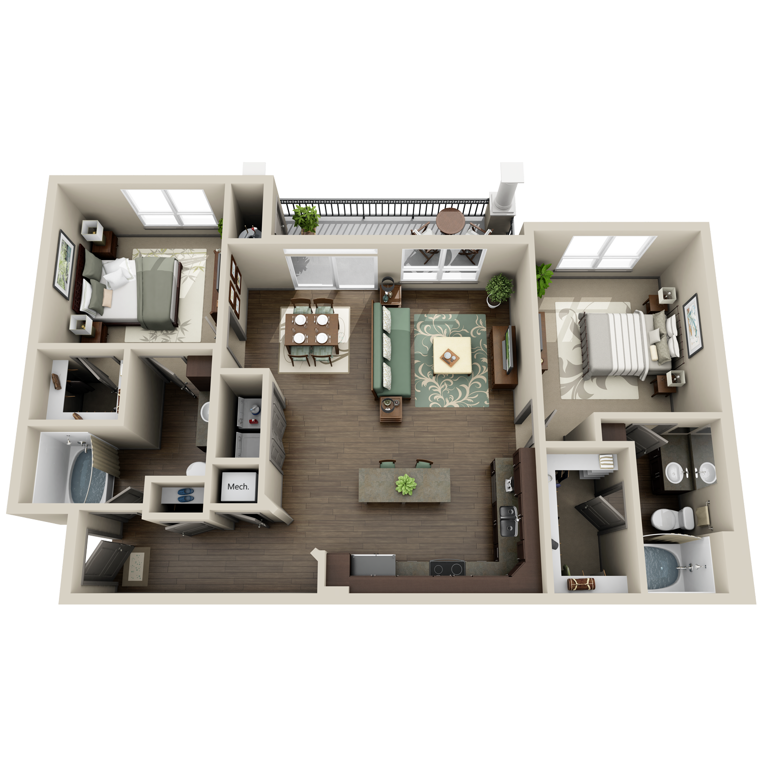 B3 floor plan featuring 2 bedrooms and 2 baths
