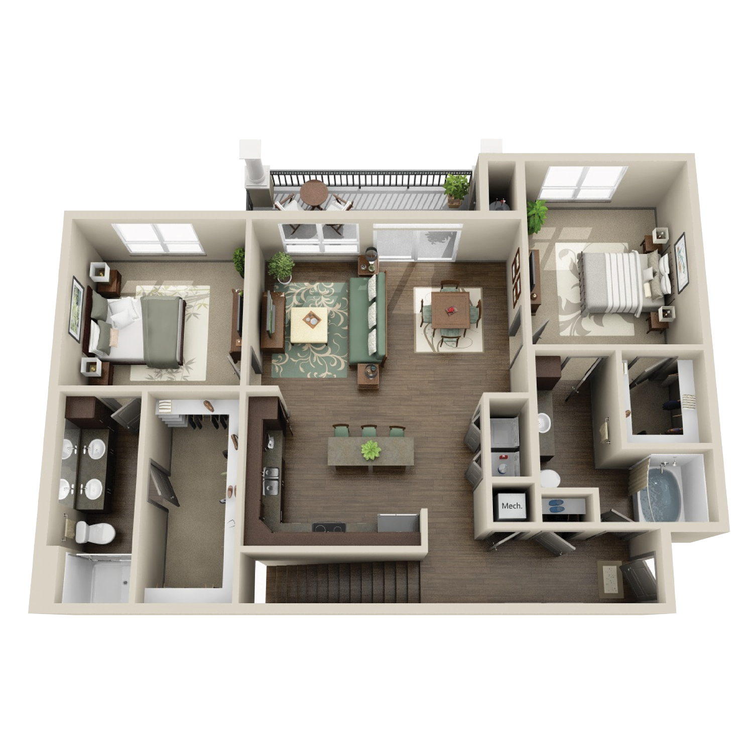 B3B floor plan featuring 2 bedrooms and 2 baths