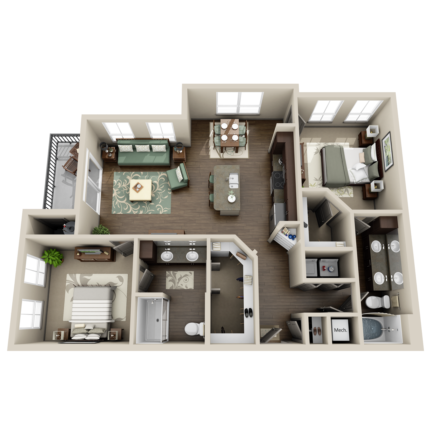 B4 floor plan featuring 2 bedrooms and 2 baths