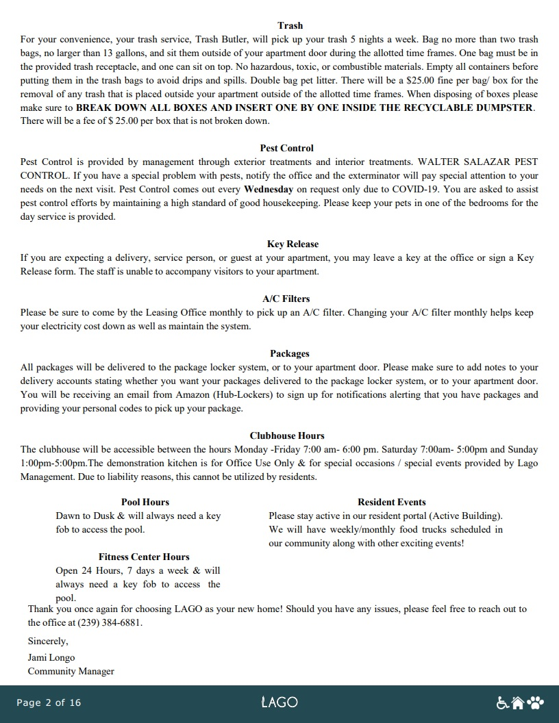 Welcome Packet - Page 2