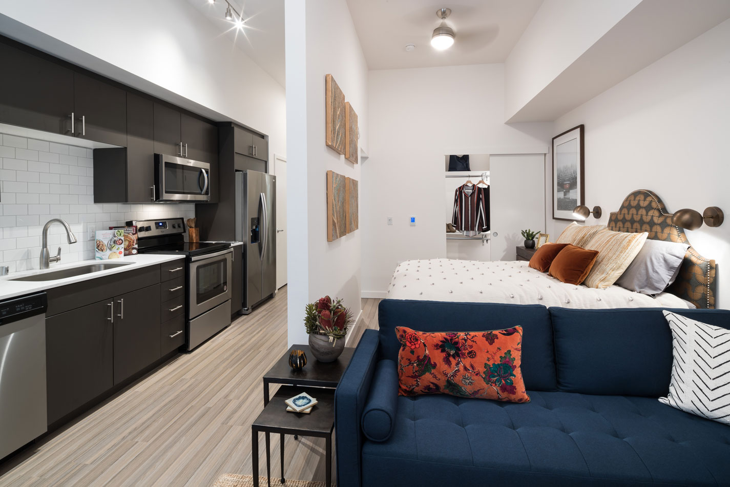 Studio apartment with long kitchen on the left featuring stainless steel appliances, living room couch and privacy wall separating the bed from the kitchen