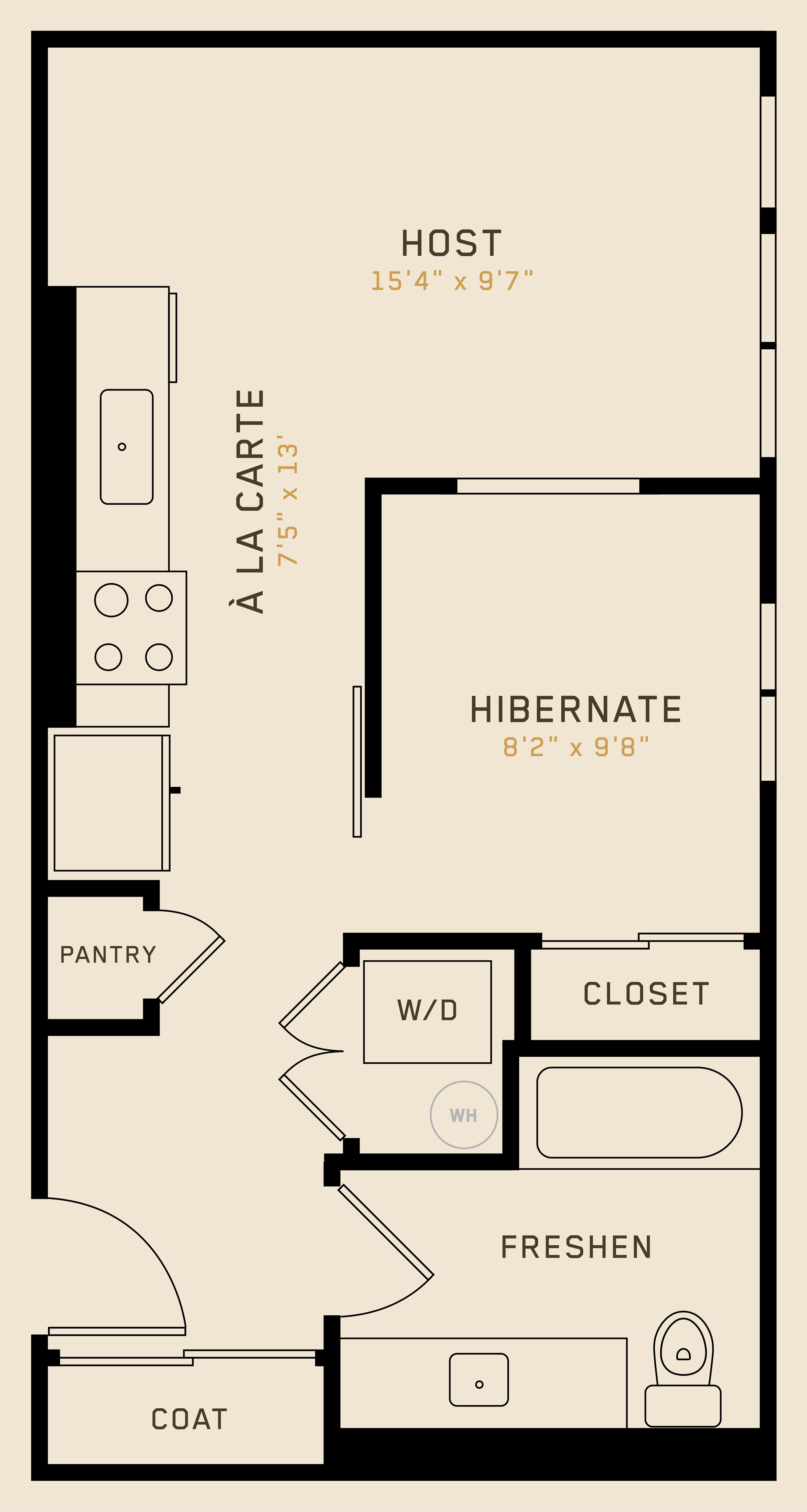 A1C floor plan featuring 1 bedroom, 1 bathroom, and is 496 square fee