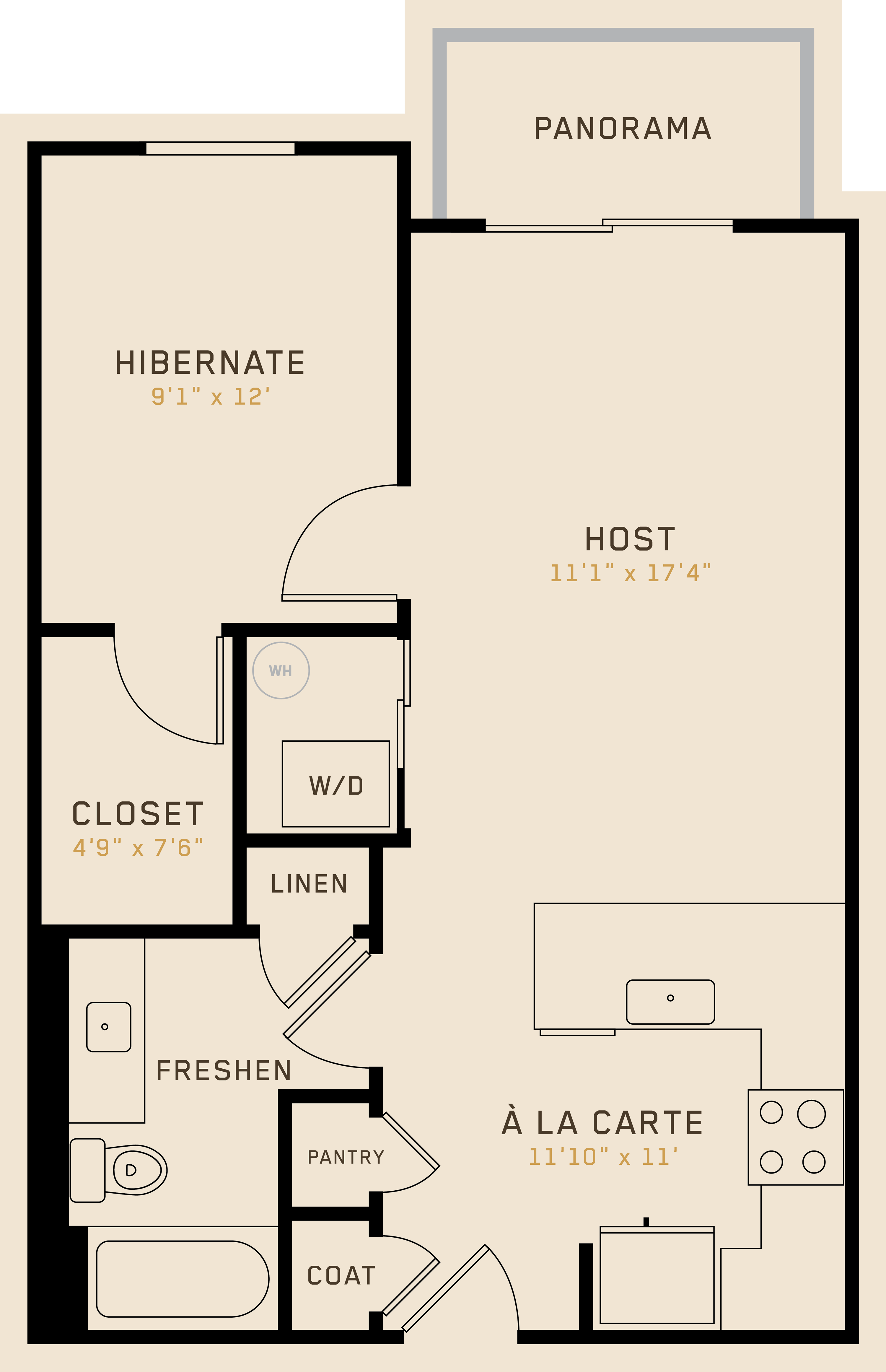 A1E floor plan featuring 1 bedroom, 1 bathroom, and is 652 square feet