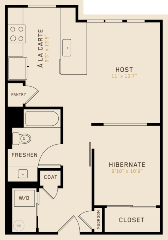 A1G floor plan featuring 1 bedroom, 1 bathroom, and is 652 square feet