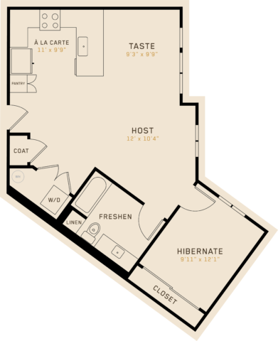 A1L floor plan featuring 1 bedroom, 1 bathroom, and is 829 square feet
