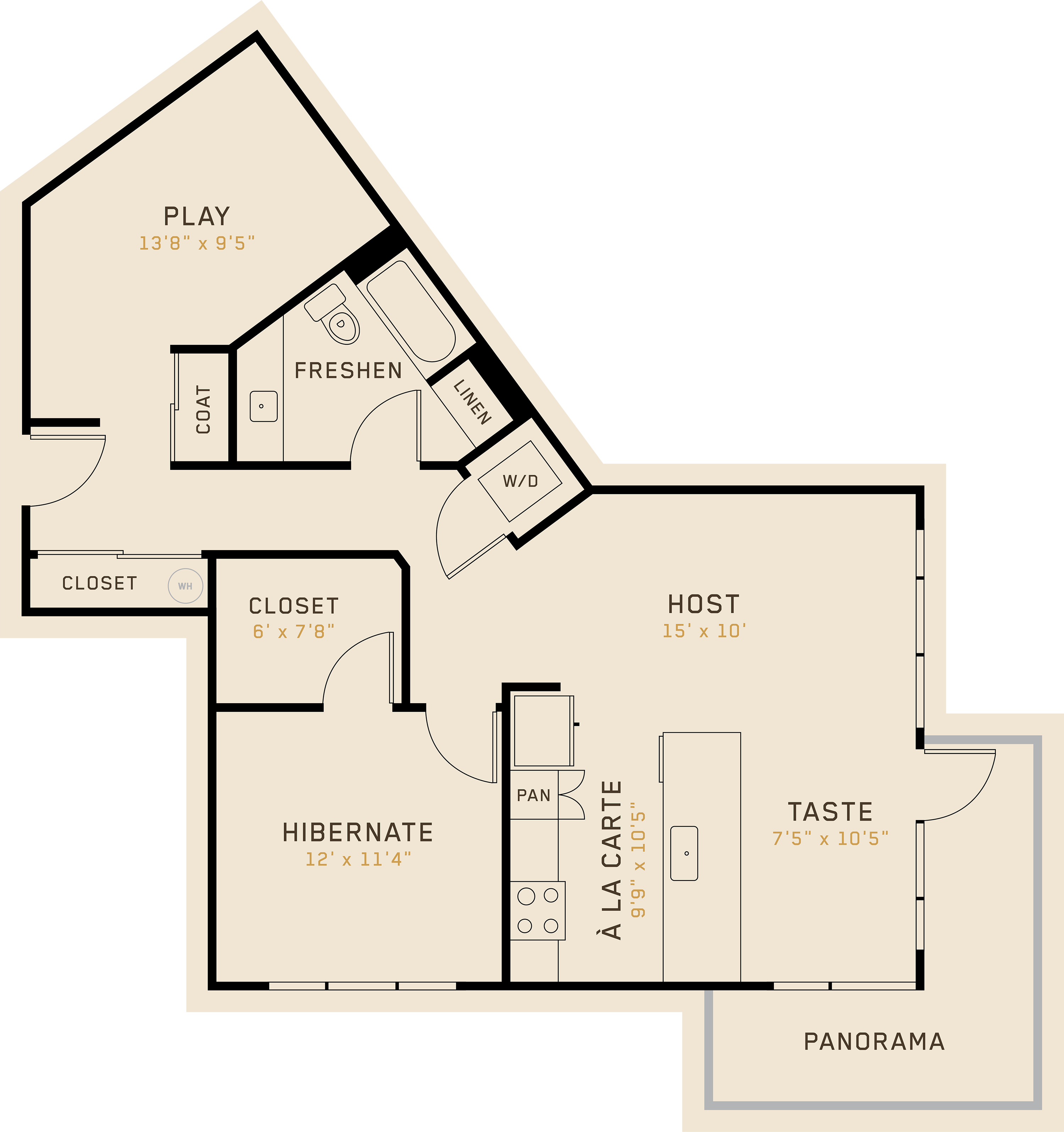 A1N floor plan featuring 1 bedroom, 1 bathroom, and is 974 square feet