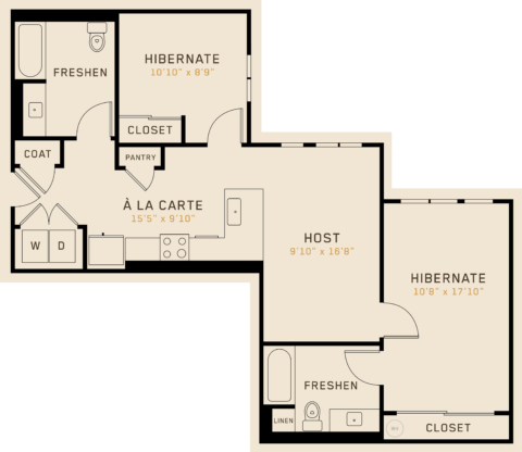 B2A floor plan featuring 2 bedrooms, 2 bathrooms, and is 975 square feet