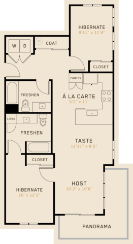 B2C floor plan featuring 2 bedrooms, 2 bathrooms, and is 976 square feet