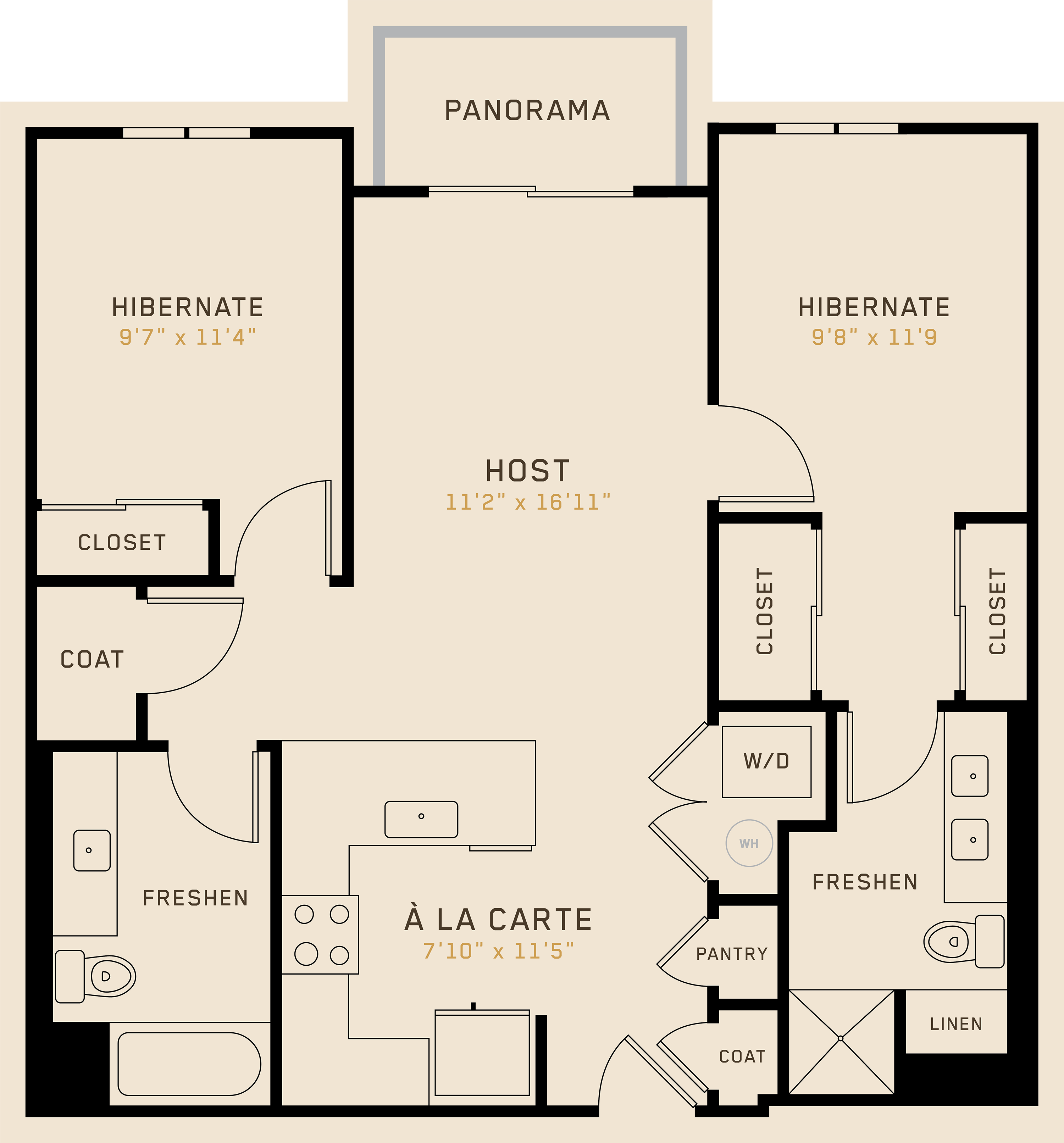 B2D floor plan featuring 2 bedrooms, 2 bathrooms, and is 976 square feet