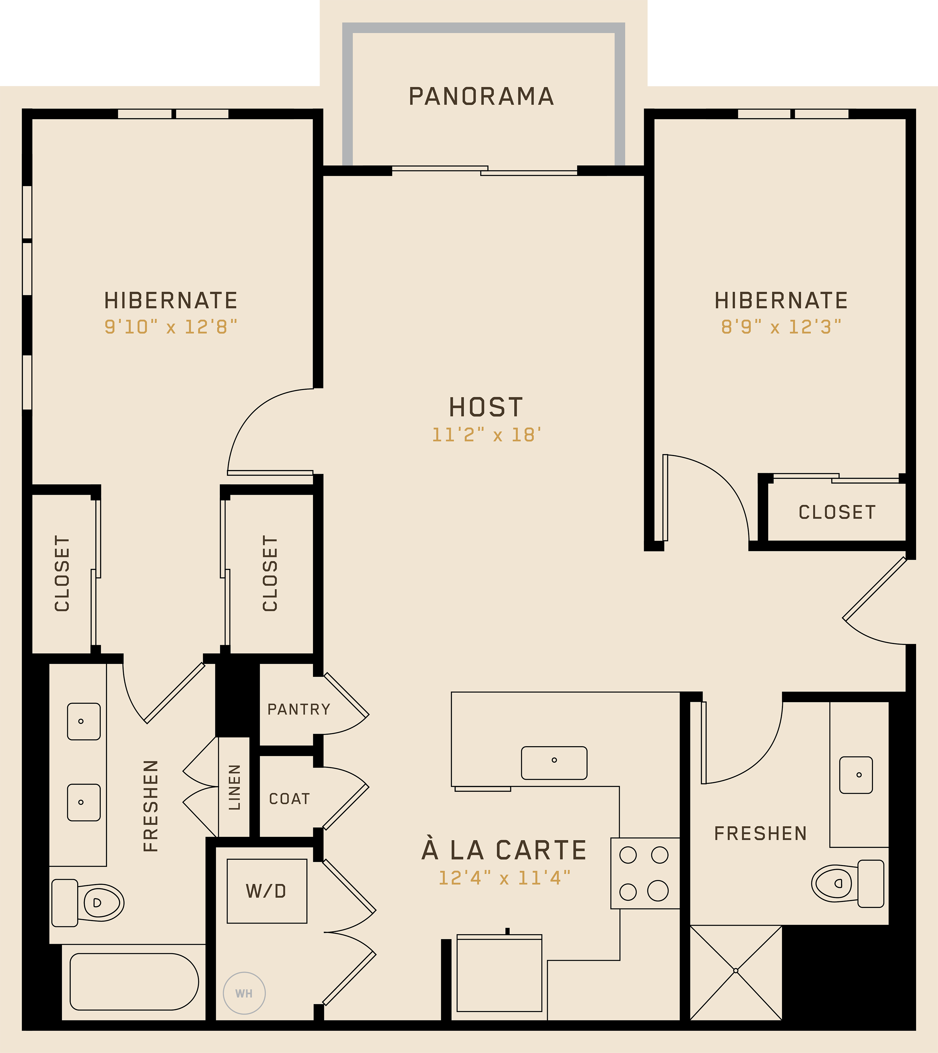 B2F floor plan featuring 2 bedrooms, 2 bathrooms, and is 985 square feet