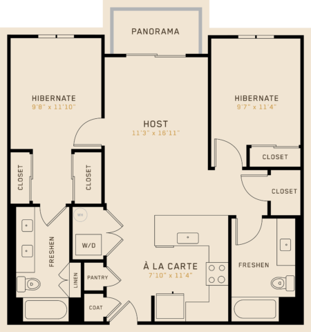 B2G floor plan featuring 2 bedrooms, 2 bathrooms, and is 988 square feet