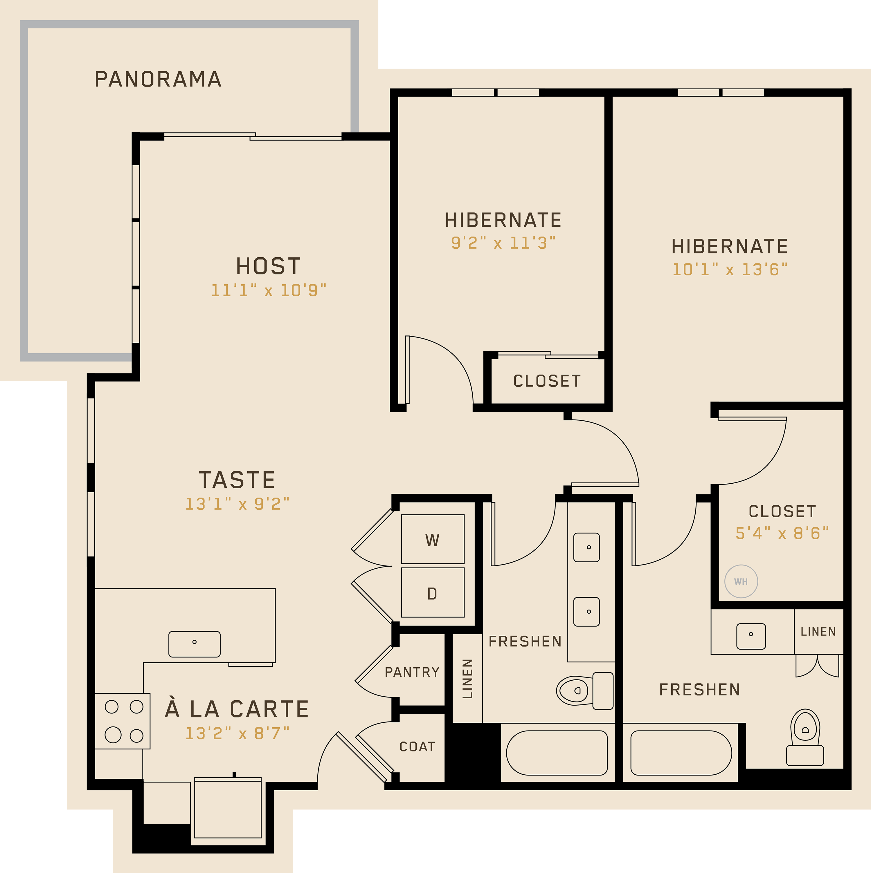B2I floor plan featuring 2 bedrooms, 2 bathrooms, and is 1,036 square feet