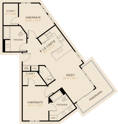 B2J floor plan featuring 2 bedrooms, 2 bathrooms, and is 1,071 square feet