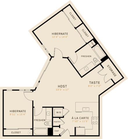 B2M floor plan featuring 2 bedrooms, 2 bathrooms, and is 1,267 square feet