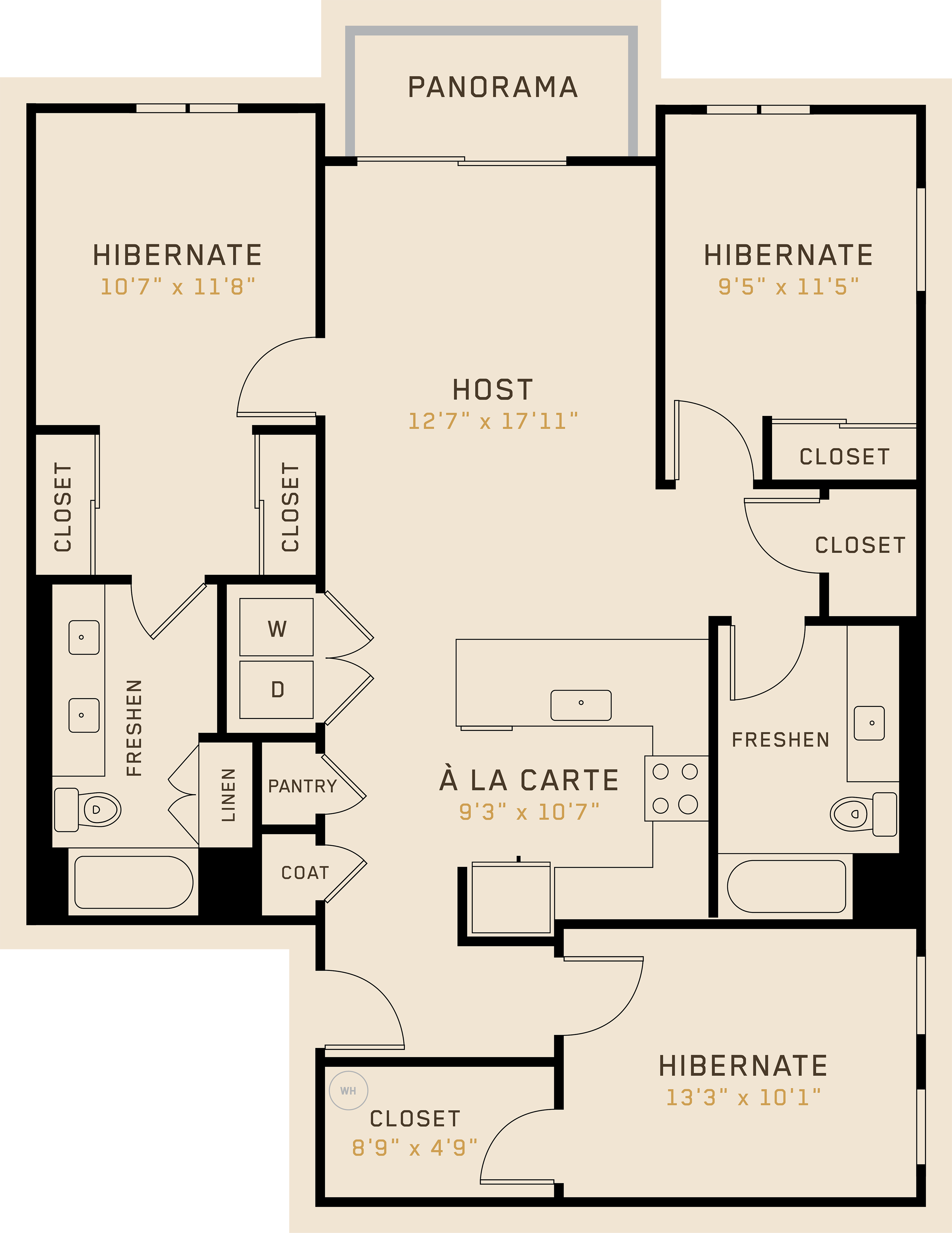 C2A floor plan featuring 3 bedrooms, 2 bathrooms, and is 1,299 square feet