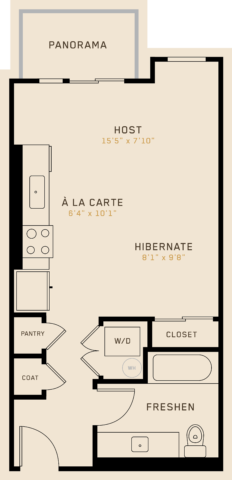 S1A floor plan featuring 1 bedroom, 1 bathroom, and is 498 square feet