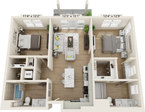 B2A Floorplan is 2 bed and 2 bath