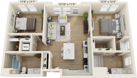 B2C Floor plan with 2 beds, 2 bath and is 1066 square feet