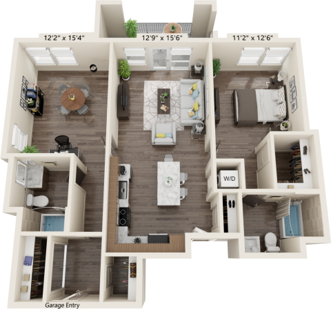 B2D Alt Floor plan with 2 bed, 2 bath and is 1115 square feet