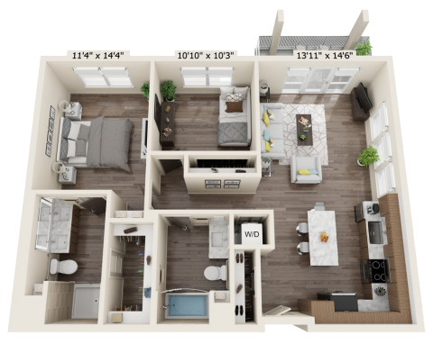 B2B flooring plan that is 2 bed, 2 bath and 1059 square feet