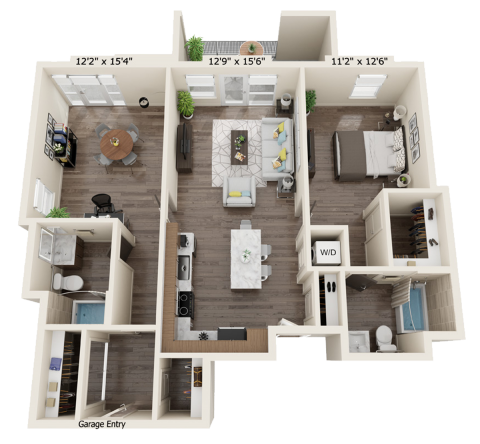 B2D floor plan with 2 bed, 2 bath and is 1115 square feet