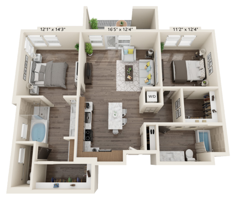 B2E floor plan 2 bed, 2 bath and is 1206 square feet
