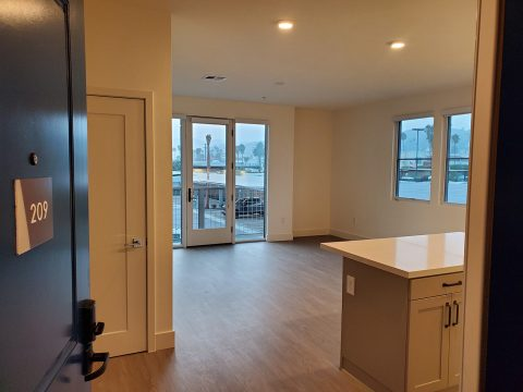 Living Room and kitchen island, mountain view.
