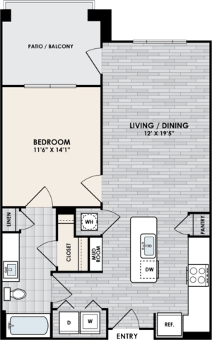 A1 Floor Plan, 1 Bed, 1 Bath, 754 sq. ft.