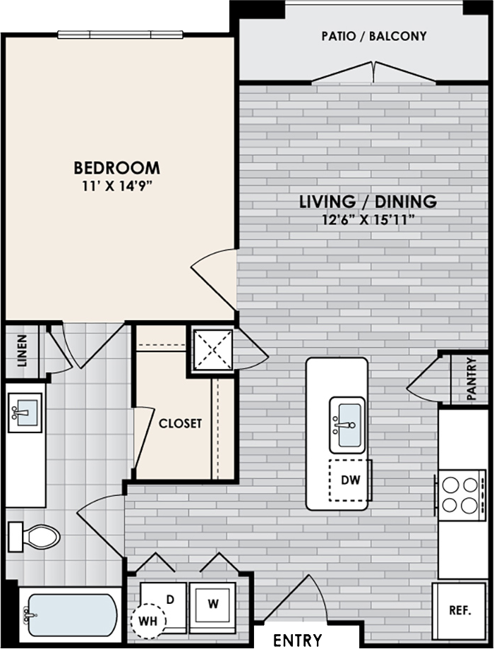 A1 Floor Plan, 1 Bed, 1 Bath, 679 sq. ft.