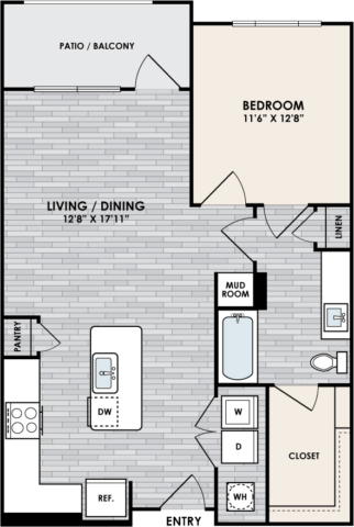 A2.1 Floor Plan, 1 Bed, 1 Bath, 830 sq. ft.