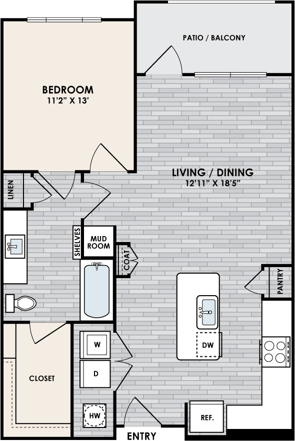 A2.2 Floor Plan, 1 Bed, 1 Bath, 844 sq. ft.