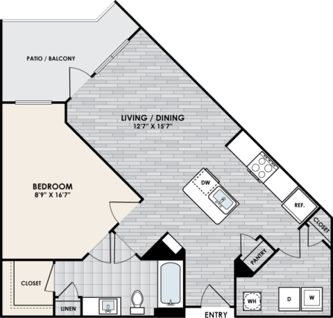 A3 Floor Plan, 1 Bed, 1 Bath, 792 sq. ft.