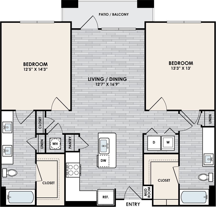B1.2 Floor Plan, 2 Bed, 2 Bath, 1071 sq. ft.