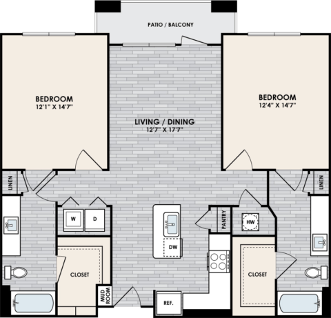 B1.3 Floor Plan, 2 Bed, 2 Bath, 1127 sq. ft.
