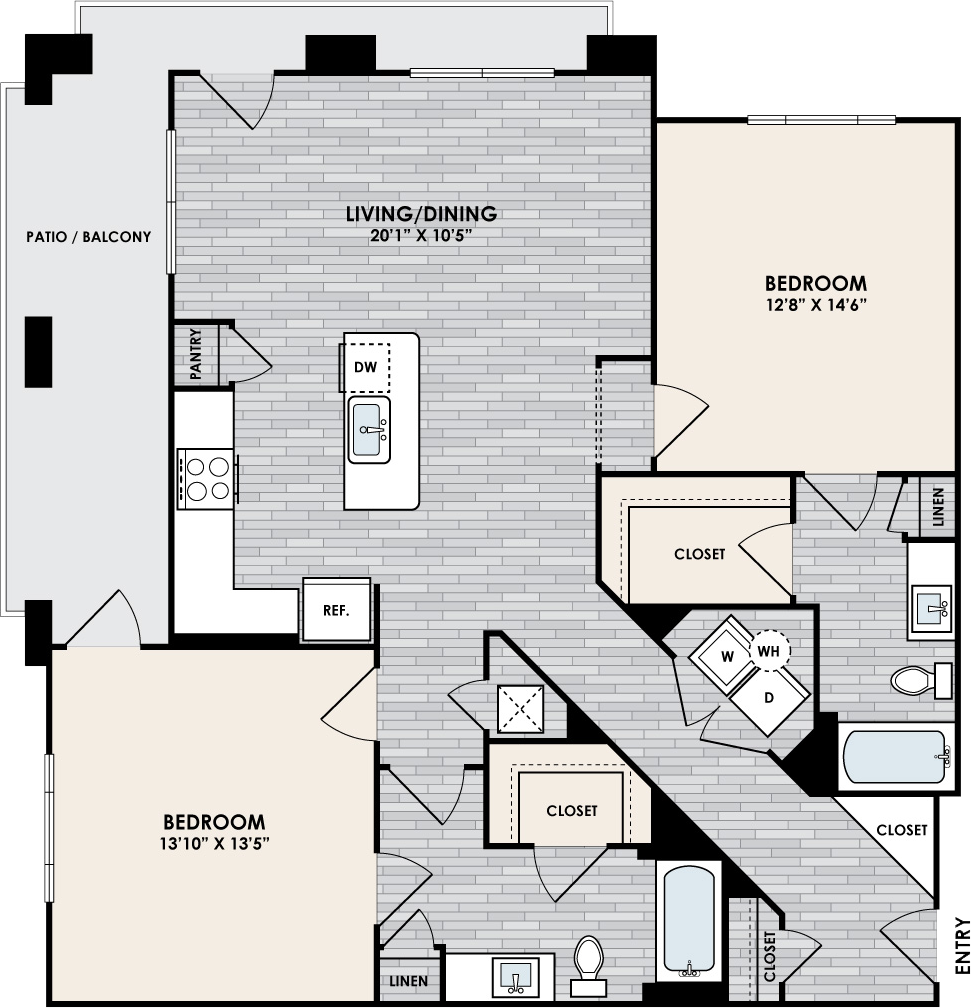 B2 Floor Plan, 2 Bed 2 Bath, 1302 sqft.