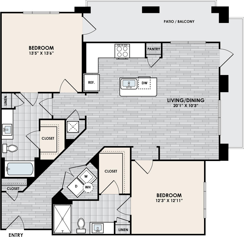 B2 Floor Plan, 2 Bed, 2 Bath, 1243 sq. ft.