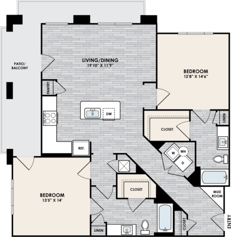 B2.1 Floor Plan, 2 Bed, 2 Bath, 1263 sq. ft.