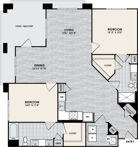 B3 Floor Plan, 2 Bed, 2 Bath, 1386 sq. ft.