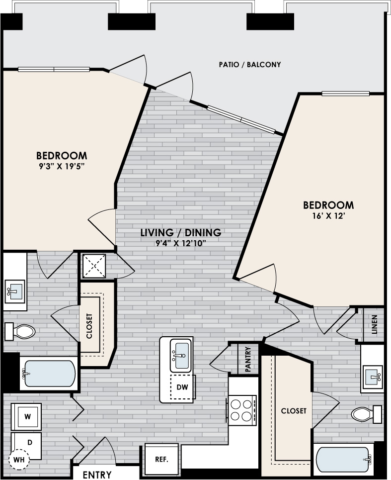 B4 Floor Plan, 2 Bed, 2 Bath, 1025 sq. ft.