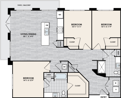 C1 Floor Plan, 3 Bed, 2 Bath, 1534 sq. ft.