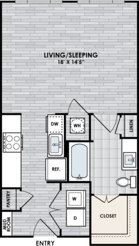 E1 Floor Plan, Studio, 1 Bath, 560 sq. ft.