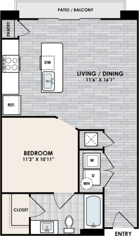 E2 Floor Plan, 1 Bed, 1 Bath, 625 sq. ft.