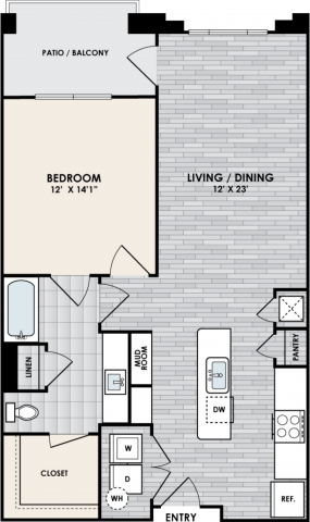 A1I Floor Plan, 1 Bed, 1 Bath, 852 sq. ft.
