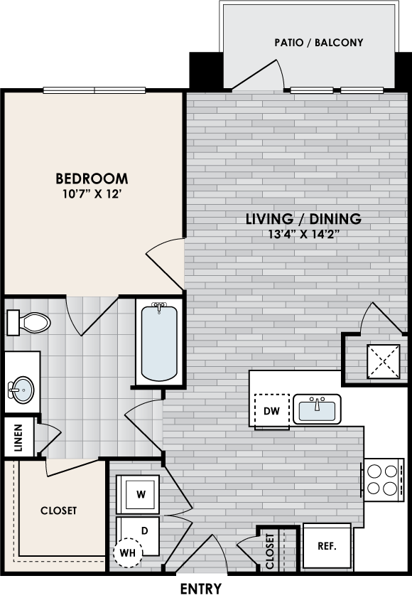 A1A floor plan – 1 bed, 1 bath, 684 square feet