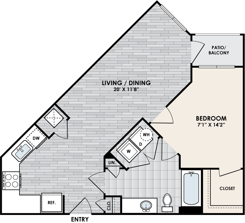 A1B floor plan – 1 bed, 1 bath, 701 square feet