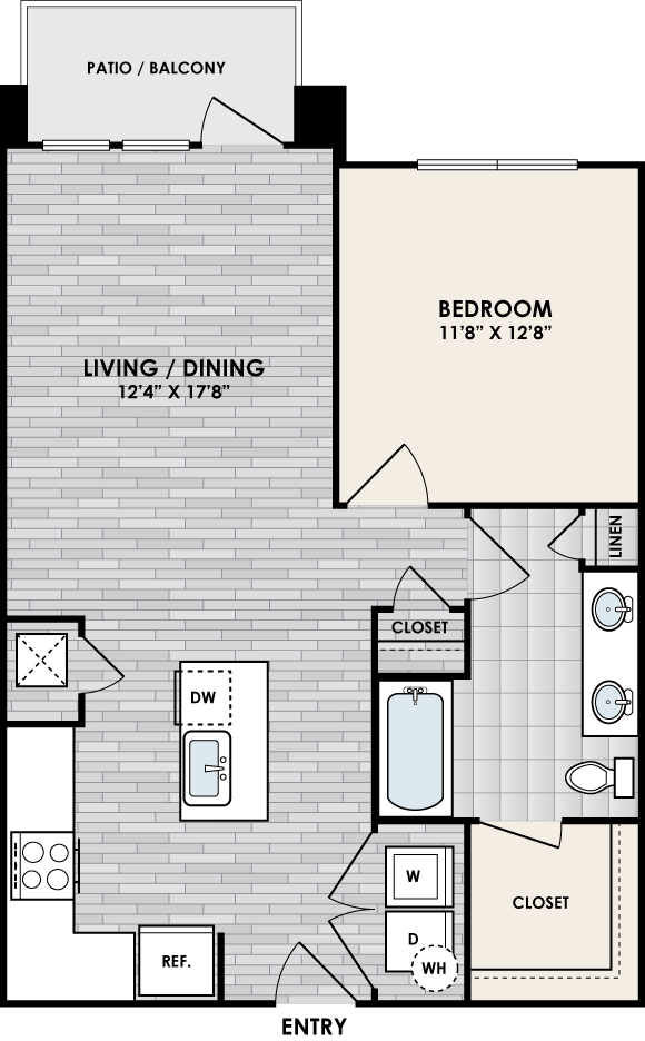 A1E floor plan – 1 bed, 1 bath, 756 square feet