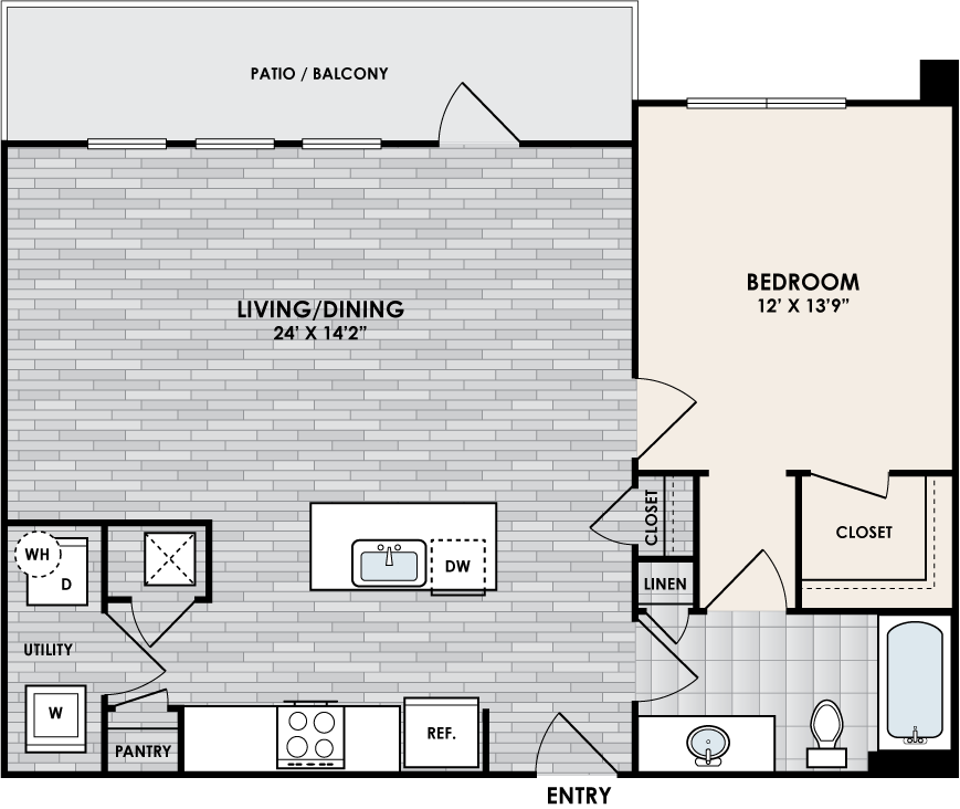 A1J floor plan – 1 bed, 1 bath, 844 square feet