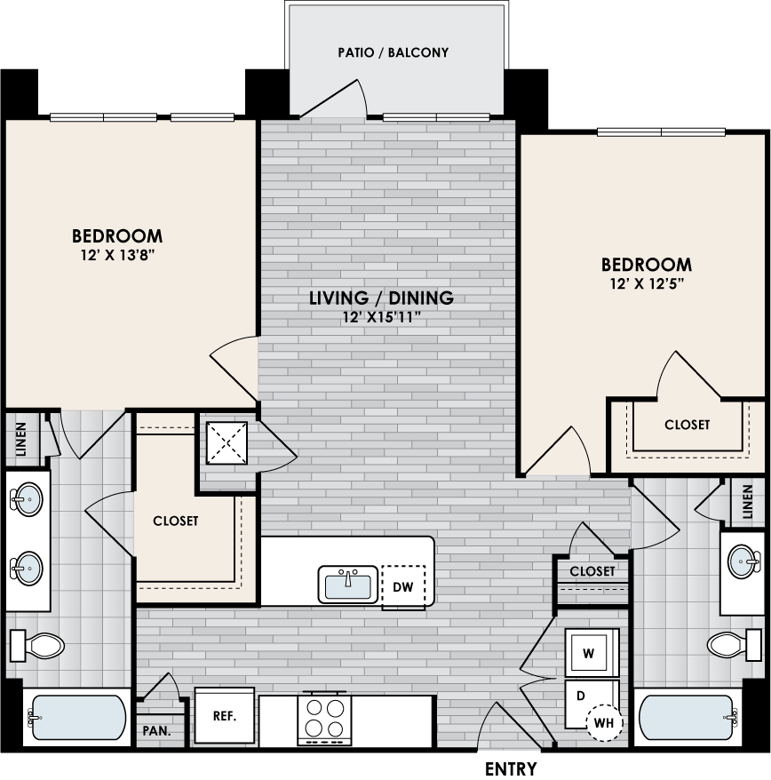 B2C floor plan – 2 bed, 2 bath, 1050 square feet