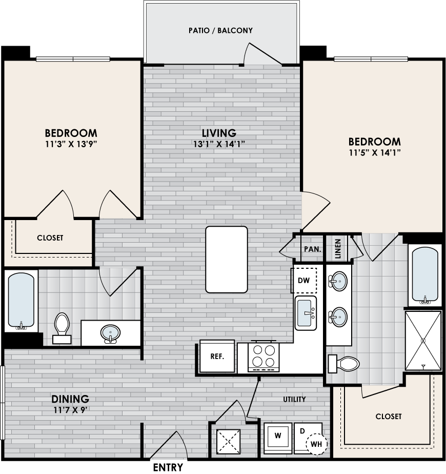 B2J floor plan – 2 bed, 2 bath, 1153 square feet